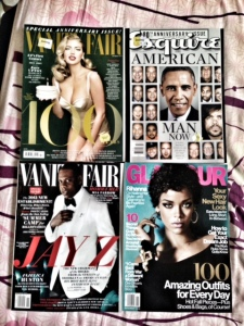 Clockwise from upper left: Vanity Fair October 2013 Special Anniversary Issue with Kate Upton on the cover; Esquire October 2013 Life of Man 80th Anniversary issue; Glamour November 2013 with Rhianna on the cover, Vanity Fair November 2013, with Jay-Z on the cover